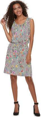 Women's Nina Leonard Floral Striped Dress