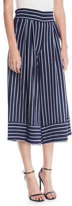 MISA Los Angeles Nikola Striped Wide-Leg Cropped Pants