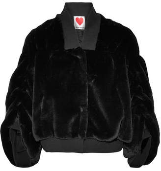 House of Fluff - Teddy Stretch Cotton-trimmed Faux Shearling Bomber Jacket - Black