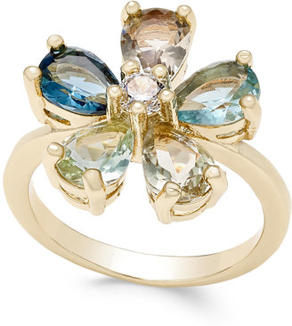 Charter Club Gold-Tone Multi-Crystal Flower Ring, Only at Macy's $27.50 thestylecure.com
