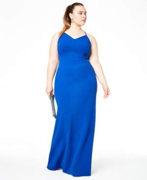 B. Darlin Trendy Plus Size Lace-Back Gown, Created for Macy's