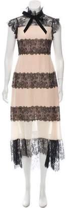 Philosophy di Lorenzo Serafini Lace-Trimmed Silk Dress