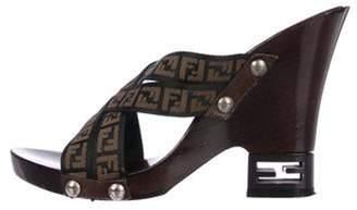 Fendi Zucca Crossover Sandals Black Zucca Crossover Sandals