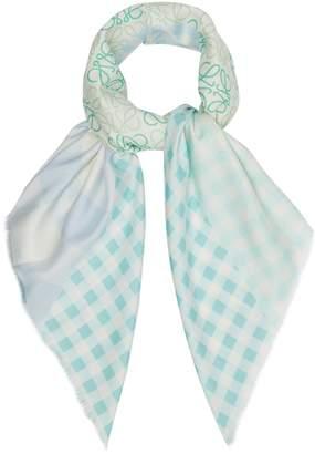 Loewe Logo and gingham-print scarf