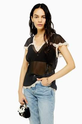 Topshop Black Delicate Lace Top