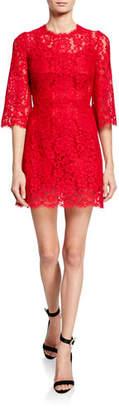 Dolce & Gabbana 3/4-Flare Sleeve Cordonetto Lace Illusion Dress