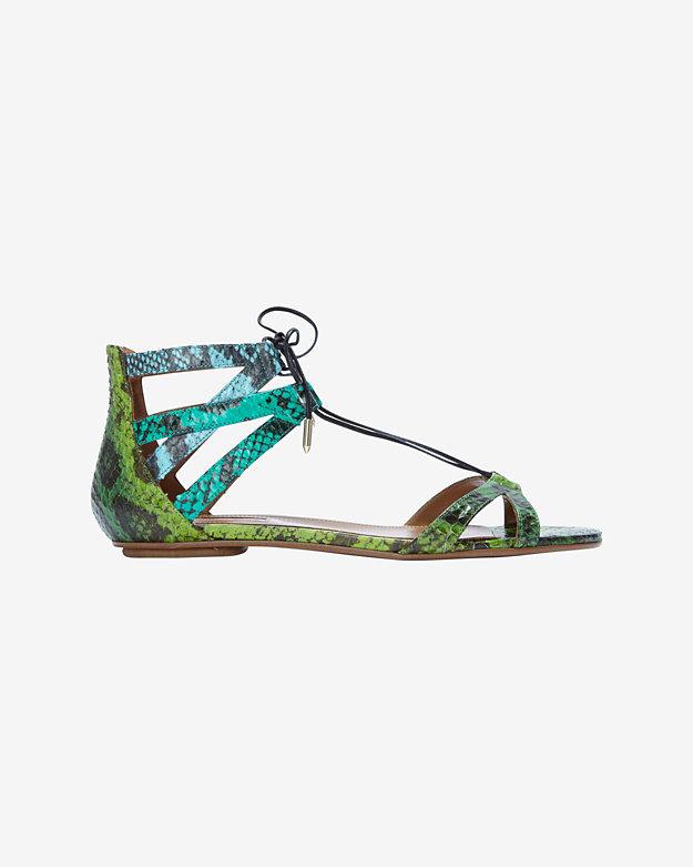 Aquazzura Beverly Hills Lace Up Flat Sandal