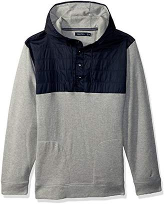 Nautica Men's Long Sleeve Mix Media French Rib Pullover Hoodie