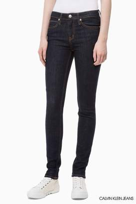 Calvin Klein Womens Jeans Authentic Rinse Mid Rise Skinny Jean - Blue