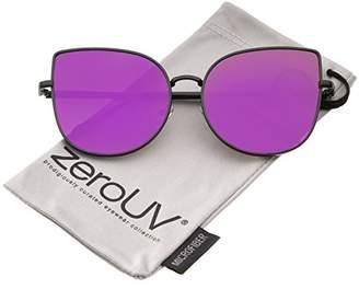 Zerouv Women's Oversize Slim Metal Frame Colored Mirror Flat Lens Cat Eye Sunglasses Cateye