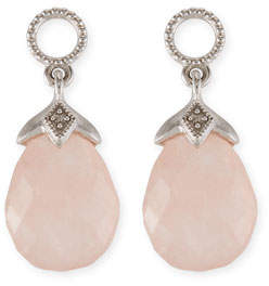Jude Frances Lisse Morganite Briolette Earring Charms with Diamonds in 18K White Gold