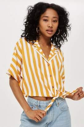 Topshop Stripe Cropped Tie Shirt