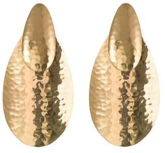 Josie Natori Hammered Gold Oval Earrings