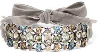 Lanvin - Ginger Velvet, Silver-tone And Crystal Choker - Gray $1,295 thestylecure.com