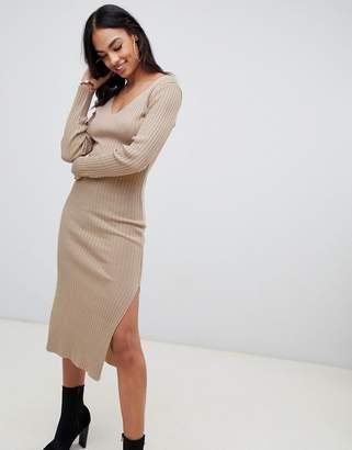 Asos Design DESIGN midi dress with v-neck in rib knit