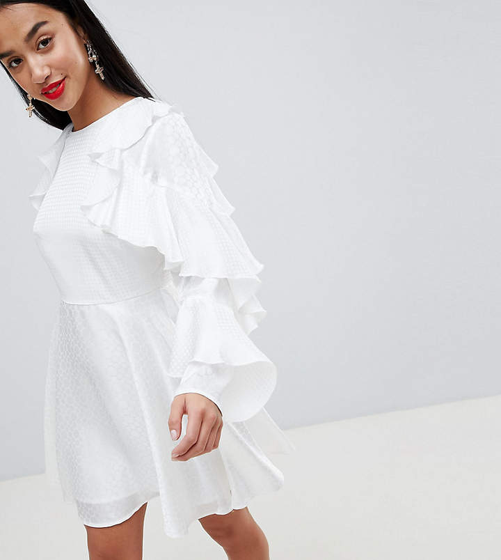 DESIGN Petite jacquard mini dress with ruffle sleeves and cut out back