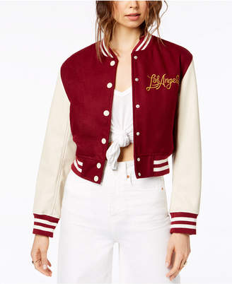 KENDALL + KYLIE Cropped Graphic Varsity Jacket