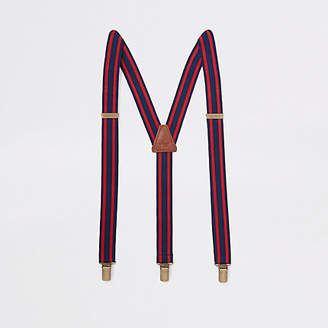 River Island Navy and red stripe belt suspenders