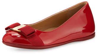 Salvatore Ferragamo Varina Mini Patent Leather Ballet Flat, Toddler/Youth Sizes 10T-2Y