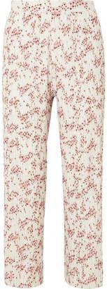 Markus Lupfer Rae Floral-print Plissé-crepe Wide-leg Pants - White
