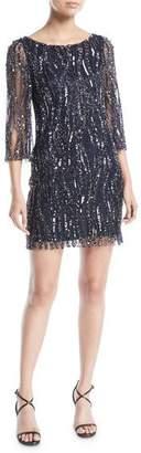 Jenny Packham Round-Neck 3/4-Sleeve Beaded Cocktail Dress