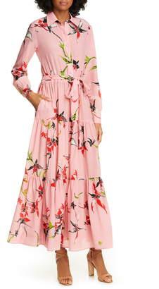 La DoubleJ Bellini Long Sleeve Silk Maxi Shirtdress