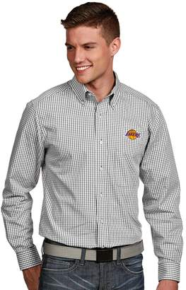Antigua Men's Los Angeles Lakers Associate Plaid Button-Down Shirt