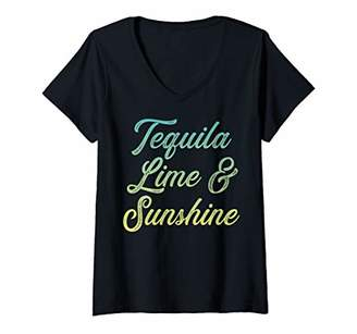 Womens Tequila lime and sunshine V-Neck T-Shirt