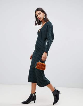 Warehouse knitted dress with blouson sleeve in green