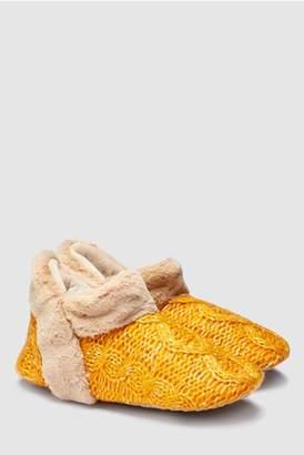 Next Womens Red Tartan Faux Fur Detail Slipper Boots