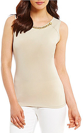 Calvin Klein Calvin Klein Rivet and Chain Trim Neck Matte Jersey Shell