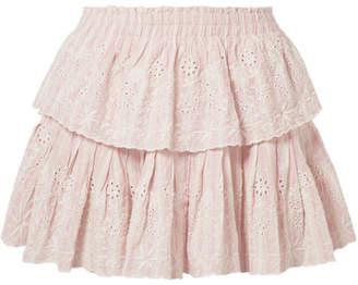 LoveShackFancy Ruffled Striped Broderie Anglaise Cotton Mini Skirt - Peach