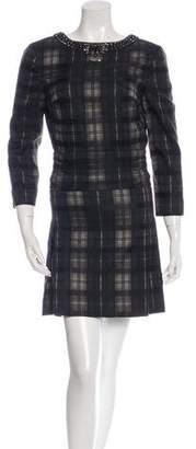 Chloé Plaid Jacquard Embellished Dress