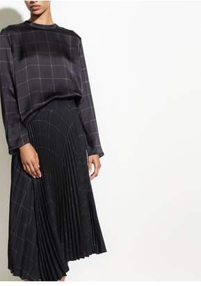 Vince Grid Plaid Drape Pleated Skirt
