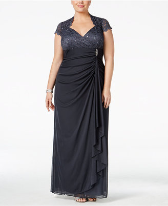 Betsy & Adam Plus Size Sequined Lace Draped Gown $239 thestylecure.com