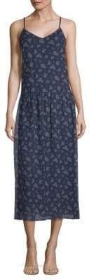 Vince Calico Floral Shirred Dress