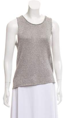 White + Warren Metallic Sleeveless Knit Top