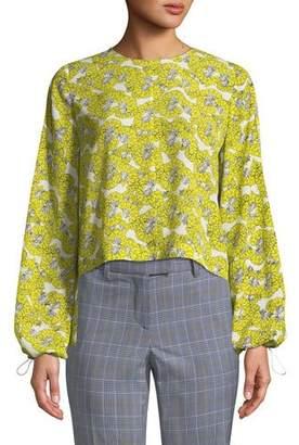 Robert Rodriguez Dania Floral-Print Ruffle-Back Blouse