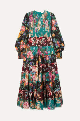 Zimmermann Allia Tiered Floral-print Silk Maxi Dress - Emerald