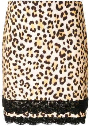 Blumarine lace detail leopard short skirt