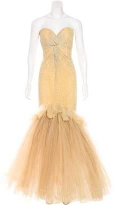 Oscar de la Renta Embellished Tulle Evening Gown