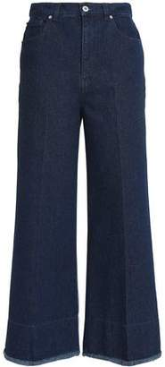 Cédric Charlier Metallic Two-Tone High-Rise Wide-Leg Jeans