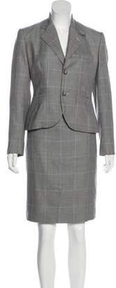 Ralph Lauren Black Label Wool Houndstooth Skirt Suit