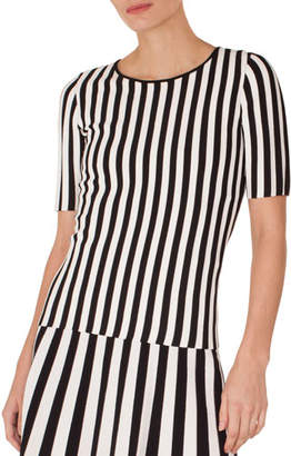 Akris Punto Round-Neck Short-Sleeve Striped Knit Top