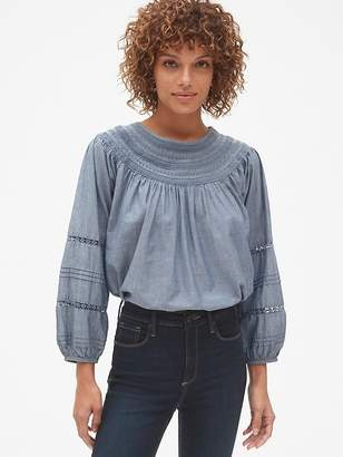 Gap Smocked Lace-Trim Peasant Blouse in Chambray