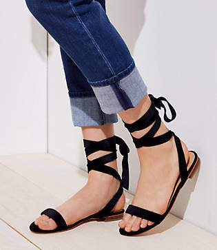 LOFT Velvet Lace Up Flat Sandals