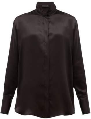 Etro Hampshire Draped Collar Satin Blouse - Womens - Black