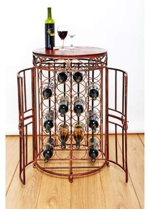 """Old Dutch Russian River"""" 24 Bottle Wine Jail 20"""" x 33"""" Antique Copper, Rosewood Stained Rubberwood"""