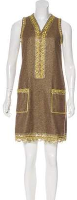 Anna Sui Metallic-Trimmed Wool-Blend Dress