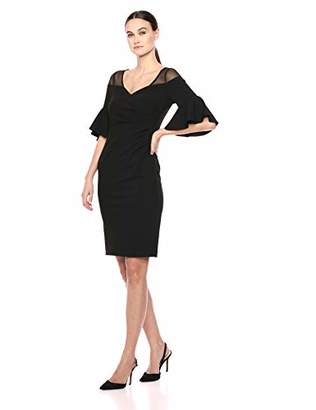 Calvin Klein Women's V Neck Sheath with Side Ruch and Flutter Sleeve Dress